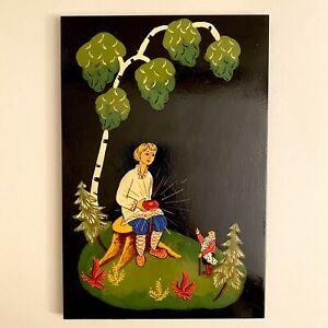 ✅ Märchen-Holzbild ALT Vintage 27,5cm Russische Lackmalerei Mädchen Zwerg RAR