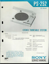 Original Factory Sony PS-252 Turntable Record Player Service/Repair Manual