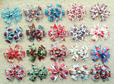 "3.5"" 20 pcs baby girl toddlers boutique grosgrain ribbon hair bow flowers mix"