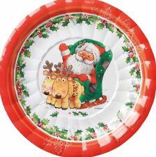 8 piatti dolce natalizi in cartoncino SANTA CLAUS babbo natale 18 cm