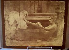 Vintage R. Hendrickson Sepia Print Boudoir Nude Pretty Lady Bathing in a Hot Tin