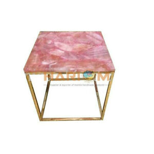 "18"" Rose Quartz Stone Square Coffee Table Top With 18"" Stand Home Decors A091"