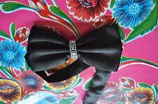 Vintage 1980's black bow tie with diamante ring