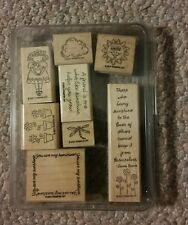 Vintage Stampin Up 2001 You Are My Sunshine 8 Stamp Set in Plastic Case