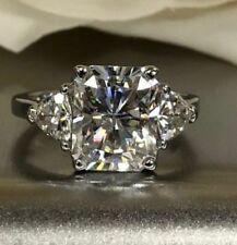 4.50Cts White Radiant Cut Engagement Wedding 14K White Gold 3 Stone Propose Ring