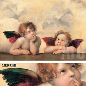 "40W""x28H"" ANGELI MADONNA by RAPHAEL RAFFAELLO SANZIO - TWO INFANT ANGELS CANVAS"