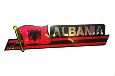 ALBANIA LONG COUNTRY FLAG  METALLIC BUMPER STICKER DECAL ..11.75 X 3 INCH