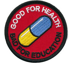 Japanese Akira anime Good for health bad education IRON ON Pill PATCH