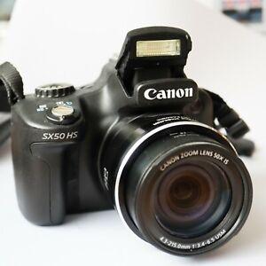 Canon Powershot SX50 HS Digital Camera 12MP 50x zoom battery bag memory card