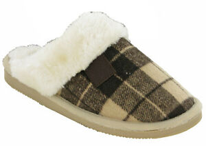 Cushionwalk Womens Mule Slippers Warm Checked Lined Flat Indoor Shoes UK 4-8