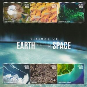 Visions of Earth From Space 6v Stamp Sheet (2015 Liberia / Satellite Imagery)
