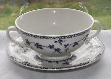 Royal Doulton China Yorktown Pattern TC1013 Blue Grapevine Soup Coupe &  Stand