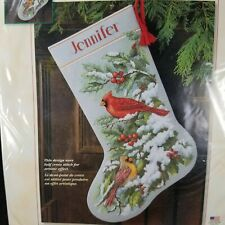 Dimensions 8738 Early Snow Cardinals Cross Stitch Stocking Kit