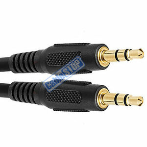 2 metre BLACK 3.5mm AUX Stereo Jack to Jack 3.5 mm Cable 2m BUDGET AUDIO LEAD