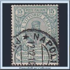 1910 Italia Regno Garibaldi 15 (+5) cent. verde n. 90 Usato []