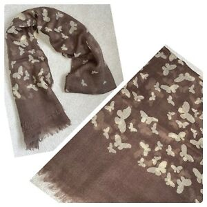 Light Brown Dress Neck Scarf With Cream Butterfly Print