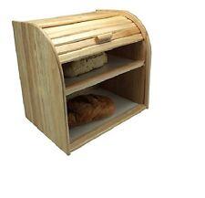 Apollo Rubberwood Double Decker Roll Top Bread Bin Kitchen Food2