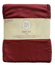 Truly Soft Brand King Size Sheet Set Red Maroon - New In Package 100% Polyester