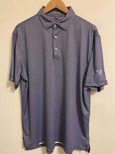 Peter Millar Summer Comfort Men's Golf Polo Size Large L Blue White Big Spring