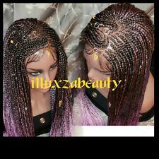 "4x4 Closure Cornrow Braided Wig Color 1b/Purple 25""-28"""