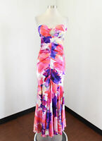 Cache Floral Strapless Mermaid Evening Dress Formal Prom Size 2 Pink Purple