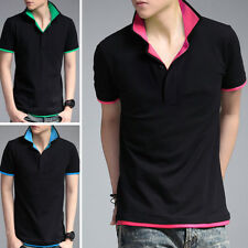 Mens Short Sleeves T-Shirts Turndown Sports Tops Polo Shirts Multicolor SD82
