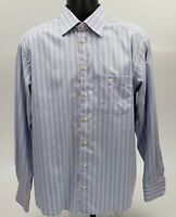 Eton Men's Dress Shirt Size 16 / 35 100% Cotton Blue White Red Stripe
