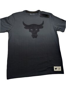 Under Armour Project Rock Tee Mens Authentic Bull Graphic Short Sleeve Grey sz L