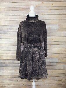 VIintage Ton Sur Ton Womens Set Two Piece Skirt Top Tie Dye Turtleneck Brown M