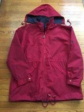 Vintage Champion Men's Red Full Zip Rain/Windbreaker Hooded Jacket Size X-Large