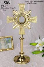 "Catholic Monstrance with Luna, Wheat on Cross Priest Monstrance, 14.96""High X90"