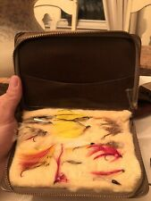 Antique Vtg 1950s Leather Hand Tied Fly Book Feather Flies Trout Serval Zipper