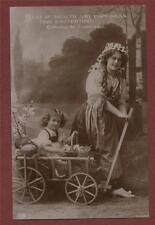 Young Woman Cart girl Basket Eggs Easter Greetings  vintage postcard st167