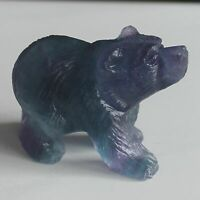 Hand carved gemstone fluorite crystal bear animal figurine animal carving
