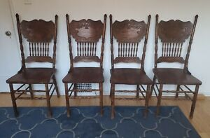 Set Of 4 Vintage Solid Wood Dining Chairs