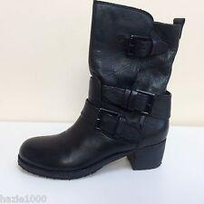 K&S Alea black leather buckle detail ankle boots, UK 3/EU 36, RRP £249, BNWT