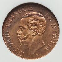 POSITIVELY 1861 Kingdom Italy Vittorio Emanuele II Centesimo NGC MS64 Red PENNY