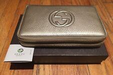 57c82683dfb4 Gucci Soho Golden Beige Travel Double zip Leather Bag Handbag Purse Wallet  New