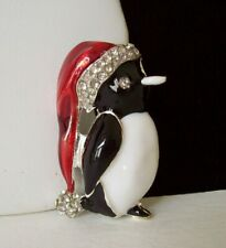 Penguin Silver-Tone Pin/Brooch w/Crystals Cute Little Enameled Christmas