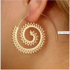Vintage Inspired Gold Detailed tribal Spiral Bronze Hoop Boho Brass Earrings