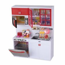"Modern Kitchen 15' Battery Operated Toy Kitchen Playset, 11-12"" Tall Dolls-Red"