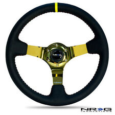 NRG Deep Dish Steering Wheel 350mm Black Leather with Red Stitch & Gold Center