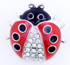 Silver tone enamel and crystal ladybird brooch