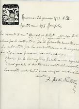 1933 RAVENNA Lettera Francesco Balilla PRATELLA per volume ricevuto - AUTOGRAFO