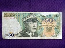 Poland 50 Zlot Zloty 1975 banknote Free Shipping A