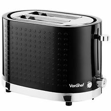 VonShef Premium 1000W 2 Slice Wide Slot Toaster with Slide Out Crumb Tray Black