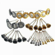 36*Wire Steel Brass Brushes Polishing Brush Wheels Set for Rotary Tool Drill Bit