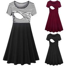 Damen Sommer Freizeit Schwangerschaftkleid Umstandskleider Schwangere Stillkleid