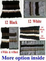 12 White /Black Anchor Cross Stitch Cotton Crochet Embroidery Floss Thread Skien