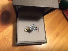Paraiba Apatite & Diamond Ring set in Platinum Overlay Sterling Silver New w tag
